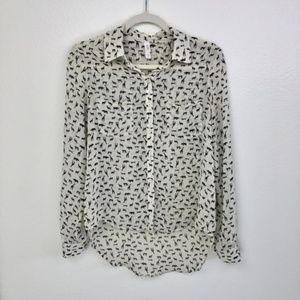 📦 Xhilaration Safari Print Button Up Sheer Blouse